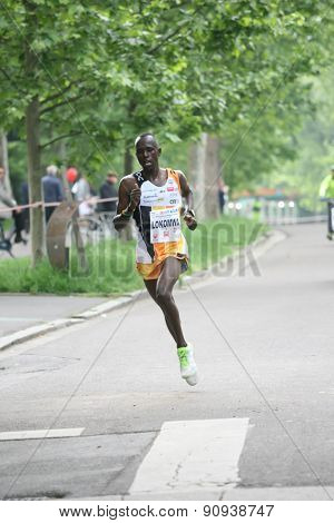 Piacenza, Italy. May 3, 2015: Placentia Half Marathon - The competition winner, Thomas Lokomwa from Kenya, with the record time of 1h and 41 seconds.