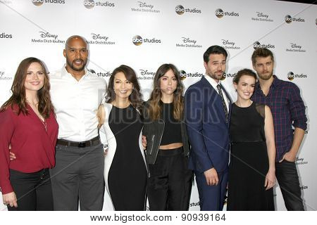 LOS ANGELES - MAY 17:  Marvel Cast memebers at the ABC International Upfronts 2015 at the Disney Studios on May 17, 2015 in Burbank, CA