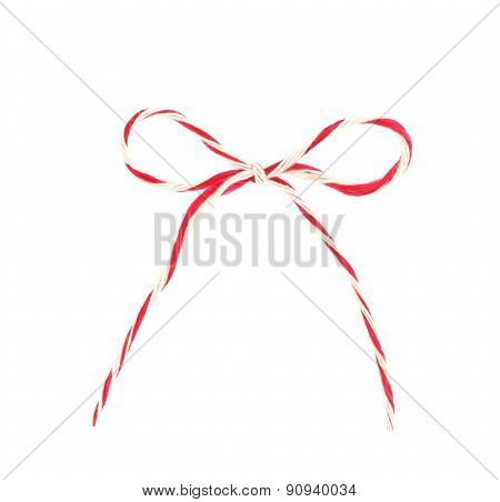 Red And White Bow Rope Isolated On White