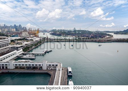 View of the industrial areas of Singapore with bird's-eye view.