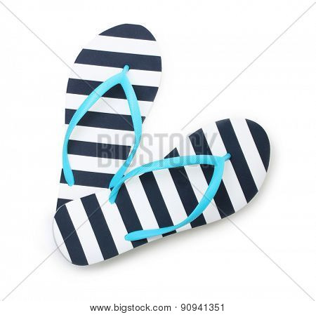 Blue flip flop beach shoes top view isolated on white background.