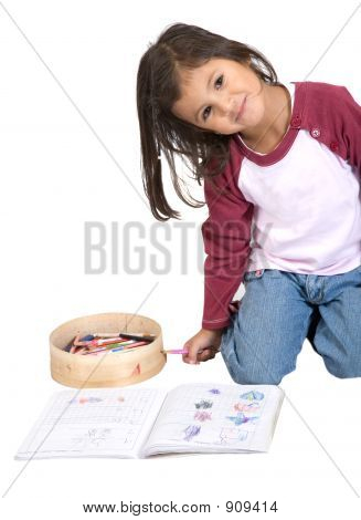 Girl Drawing On Her Notebook