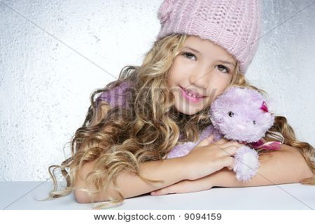Winter Fashion Cap Little Girl Hug Teddy Bear Smiling