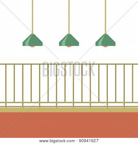 Empty Balcony With Ceiling Lamps.