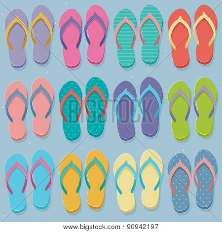 Big Set Of Colorful Flip Flops