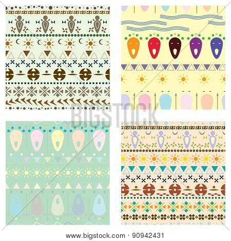 Set Of Colored Tribal Pattern