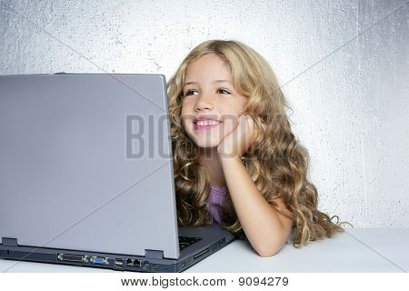 Student Little School Girl On Laptop Compute