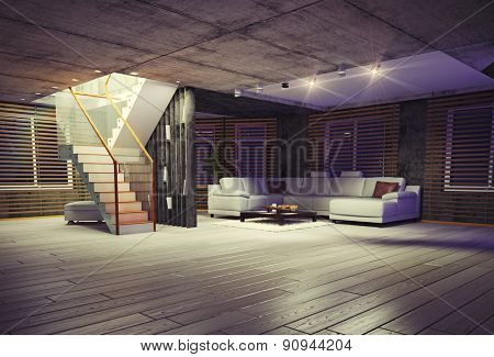 Modern loft interior at the evening. Contemporary design concept 3d