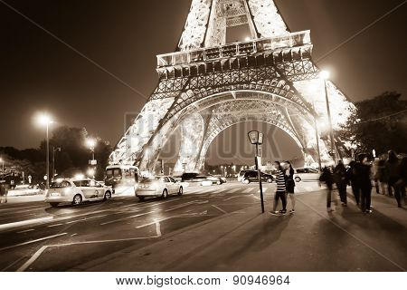 PARIS - SEP 08: area near Eiffel tower at night on September 08, 2014 in Paris, France. The Eiffel tower is the most visited monument of France.
