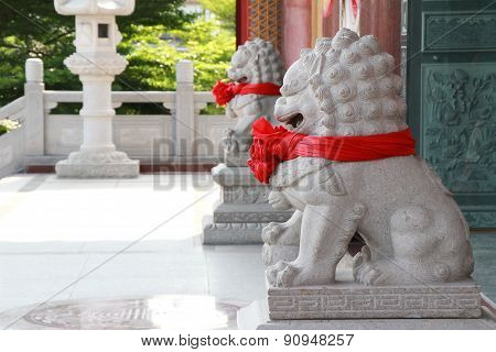 Twin lion statue in temple thailand.Temple Asia