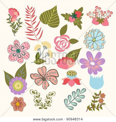 Floral Symbols  Icon Set Of Lovely Flowers In Vintage-style