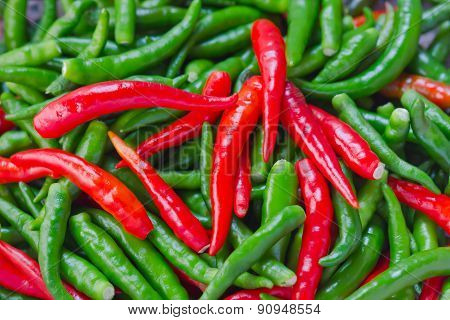 A Heap Of Fresh Chili Peppers
