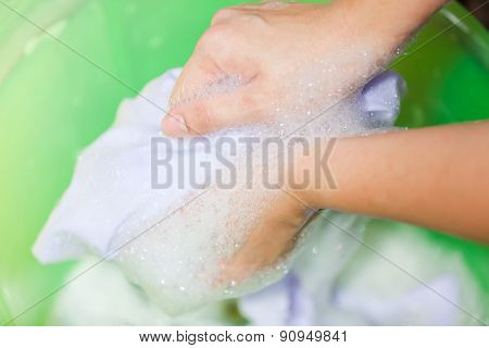 Hand Washing In Plastic Bowl