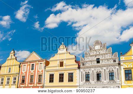 Vivid Renaissance houses in Telc, Czech Republic - UNESCO world heritage site