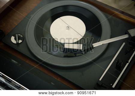 retro vinyl record and radio player, toned