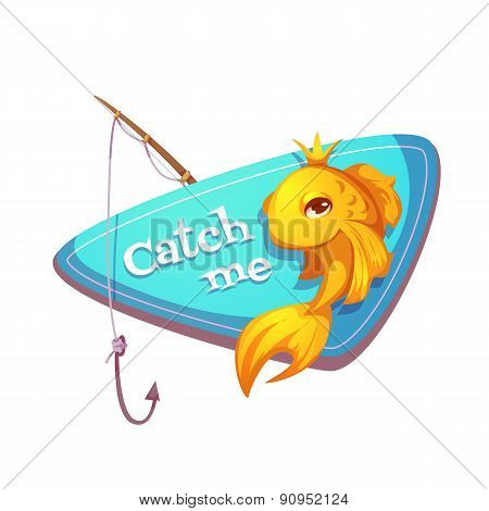 Vector illustration of cut gold fish with fishing rod