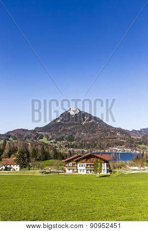 Lake Fuschl With Beautiful Alps Panorama