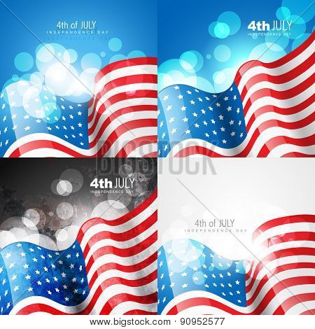 vector creative set of american flag design of 4th july independence day background illustration