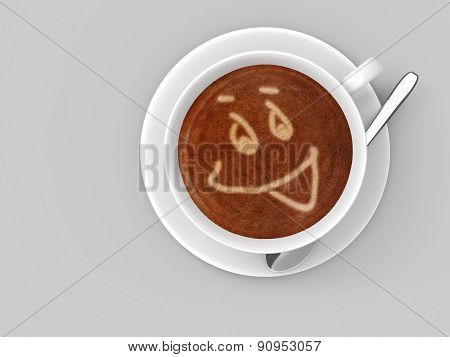 Coffee cup sitting on a saucer with a smiley face drawn in the foamy latte