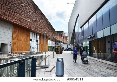 Almere, Netherlands - May 5, 2015: People Shopping At The Modern City Center Of Almere