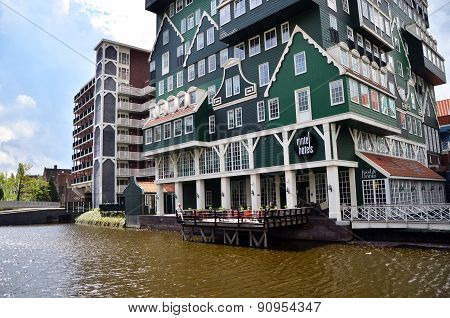 Zaandam, Netherlands - May 5, 2015: Tourist Visit Inntel Hotels in Zaandam, Netherlands