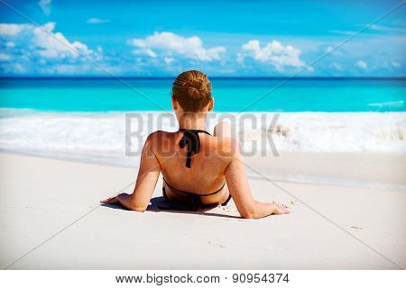 Young woman has enjoy on the beach