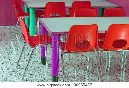 Classroom With Red Chairs In The Preschool