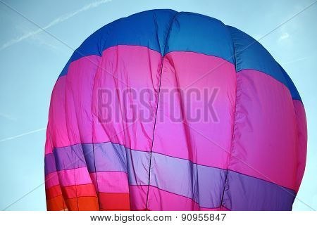 Large Colorful Hot Air Balloon Is Flying In The Sky