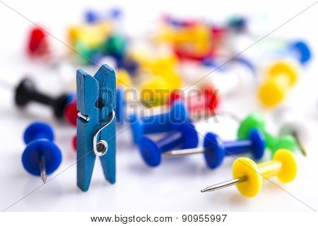 Little Color Clothes-peg Isolated On White Background