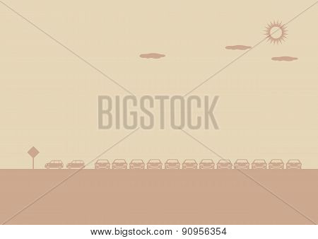 Outdoor Car Parking Lot Vector Background Illustration