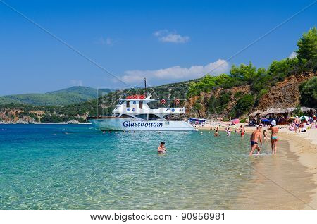 Pleasure Boat At Beach Of Peninsula Sithonia, Greece