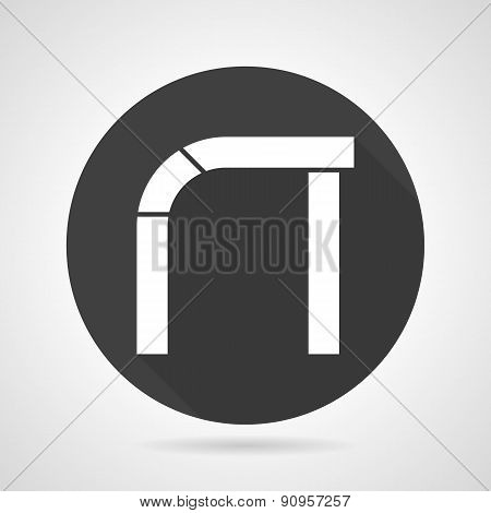 Asymmetric arch black round vector icon