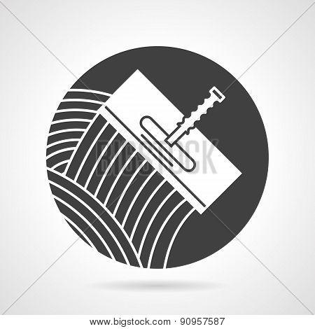 Tile trowel black round vector icon