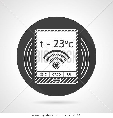 Thermostat black round vector icon