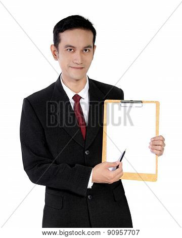 Young Asian Businessman Showing A Paper Pad, Isolated On White