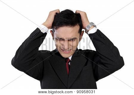 Young Asian Businessman Expressing Frustration, Isolated On White