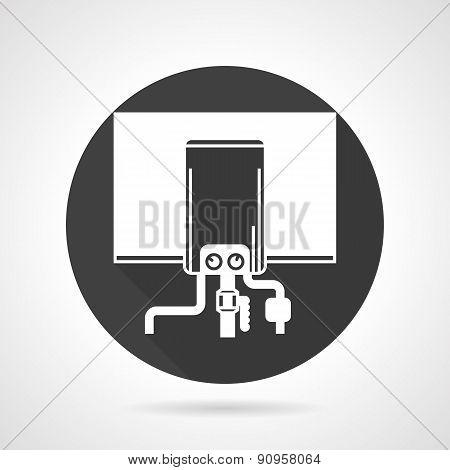 Boiler black round vector icon