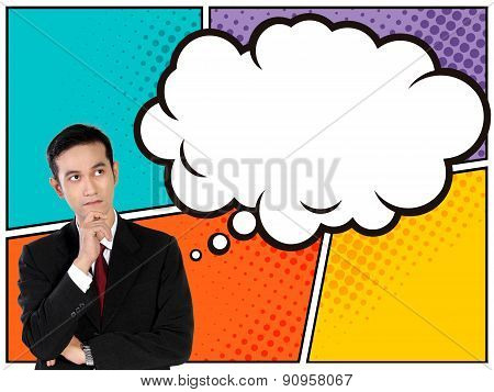 Young Asian Businessman Looking Up To Thinking Bubble In Comical Style