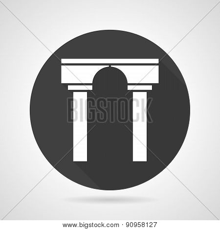 Arch with pillars black round vector icon