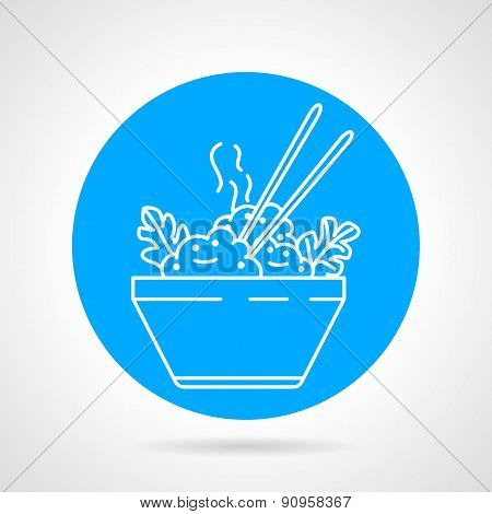 Boiled rice round vector icon