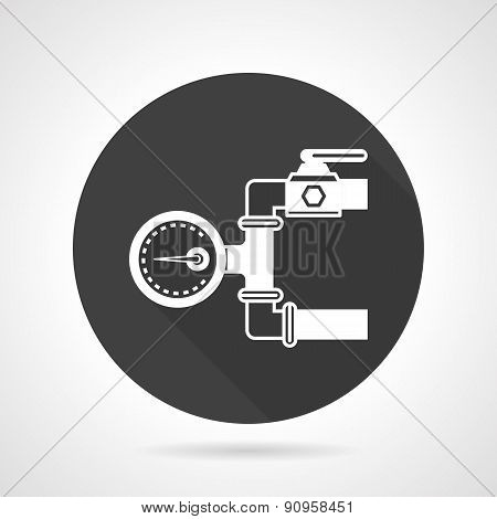 Pipeline gauge black round vector icon