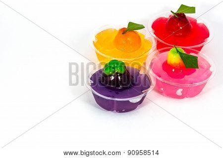 Deletable Imitation Fruits In Jelly ,thai Dessert On White Background