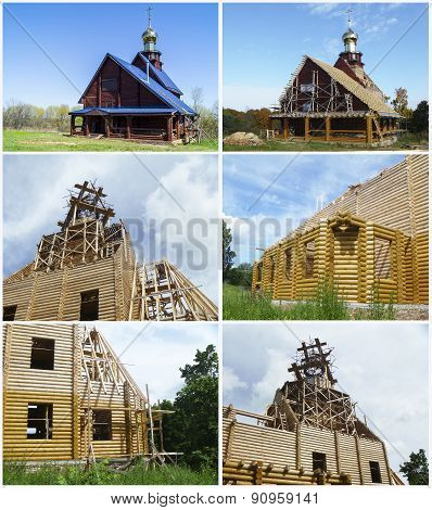 Kollazh. Construction New Church In Russia