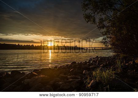 Panorama of sunset over the Dnieper.