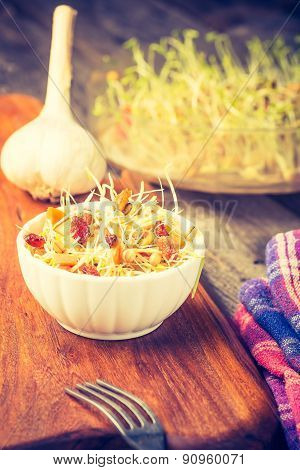 Vintage Photo Of Fresh Lentil And Wheat Sprouts Salad