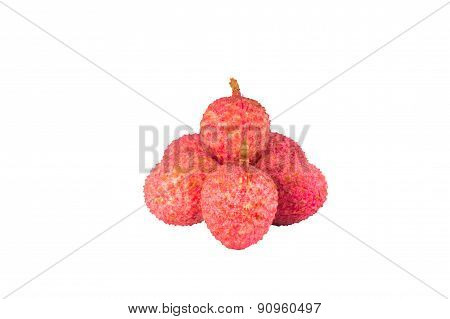 Lychee. Sweet Fresh lychees isolated on white background.