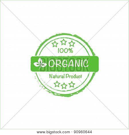 100% organic stamp icon