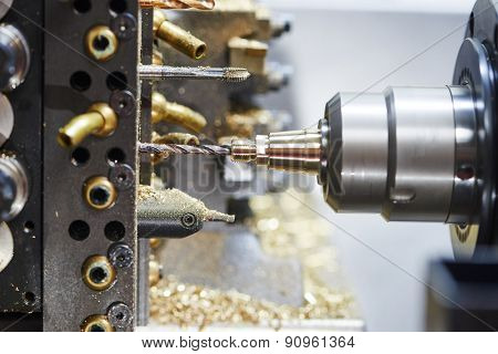 industrial metal work machining cutting process of blank detail by drilling