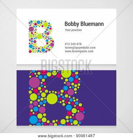 Modern Letter B Circle Business Card Template