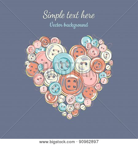vector illustration of heart of the buttons